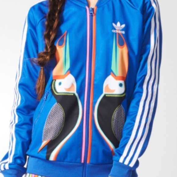 87bb229094c5 adidas Jackets   Blazers - Adidas FARM Toucan Zip Up Track Jacket Blue RARE